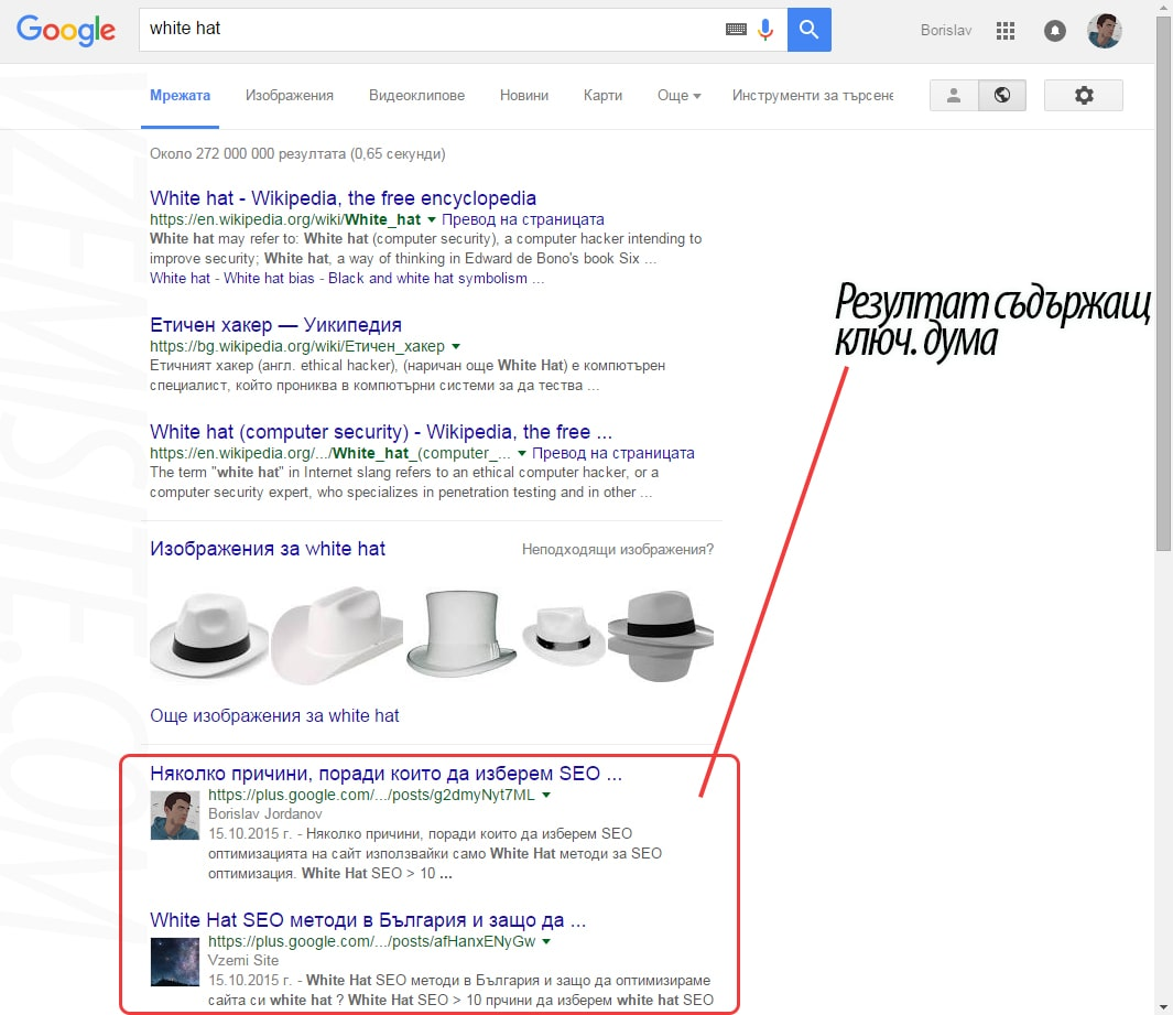 Google+ резултати в Google SERP